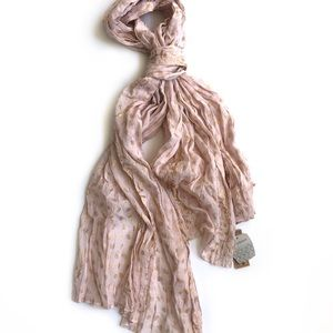 World Market pale pink and gold scarf NWT